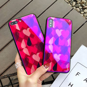 2018 New Fashion Love Heart With Blue Light Cell Phone Case For IPhone X 8 Plus 6 6S 7 Plus Tempered Glass+Soft TPU Back Cover