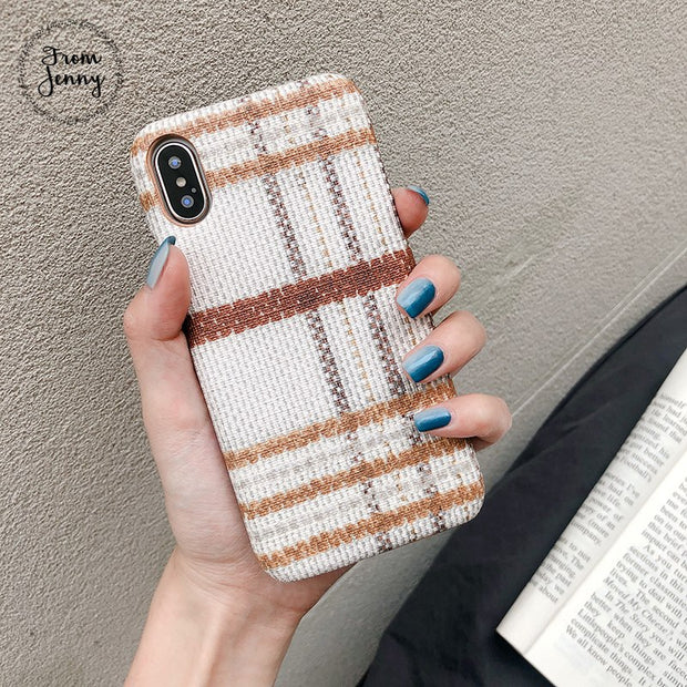 2018 News Couple Plaid Pattern Vintage Phone Case For IPhone 7 Deluxe Striped Fabric Case For IPhone 6 6s 8 Plus X Funda Capinha