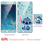 2018 New Luxury FOR Huawei P8 Lite Bumper Silicone Case=Tempered Glass Film+ Cute Cartoon Plastic Soft Case Cover+phone Holder