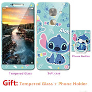 2018 New Luxury FOR LeEco Le Pro 3 Bumper Silicone Case=Tempered Glass Film+ Cute Cartoon Plastic Soft Case Cover+phone Holder