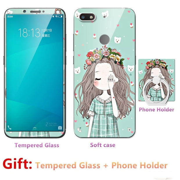 2018 New Luxury FOR Nubia V18 Bumper Silicone Case=Tempered Glass Film+ Cute Cartoon Plastic Soft Case Cover+phone Holder