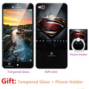 2018 New Luxury FOR Nubia Z11 Minis Bumper Silicone Case=Tempered Glass Film+ Cute Cartoon Plastic Soft Case Cover+phone Holder