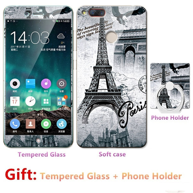 2018 New Luxury FOR Nubia Z17 Mini Bumper Silicone Case=Tempered Glass Film+ Cute Cartoon Plastic Soft Case Cover+phone Holder