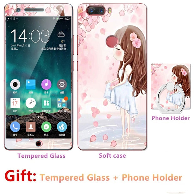 2018 New Luxury FOR Nubia Z17 Bumper Silicone Case=Tempered Glass Film+ Cute Cartoon Plastic Soft Case Cover+phone Holder