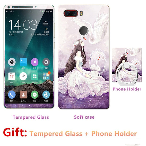2018 New Luxury FOR Nubia Z17s Bumper Silicone Case=Tempered Glass Film+ Cute Cartoon Plastic Soft Case Cover+phone Holder