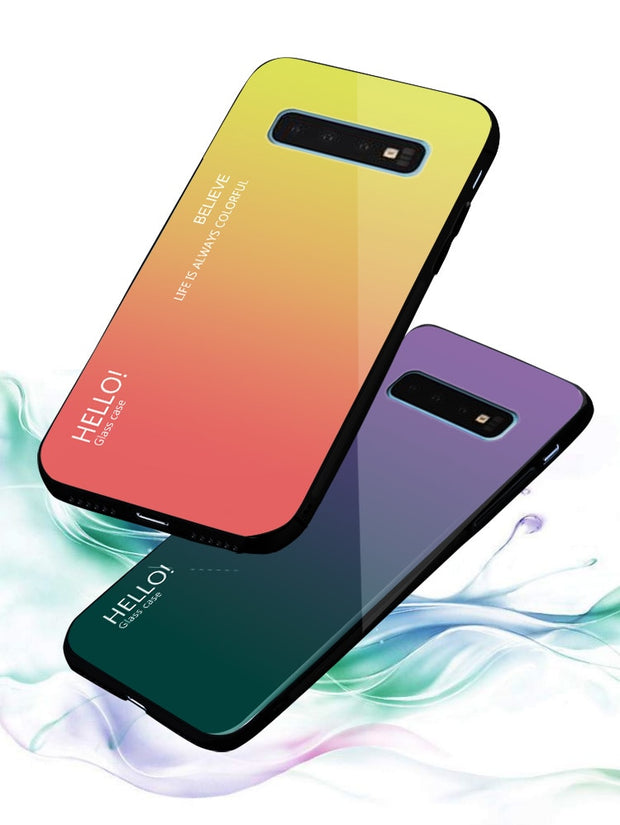 2019 Gradient Glass Case For Samsung Galaxy S10 Plus Case Soft Silicone Frame Hard Tempered Glass Cover For Samsung S10 Lite