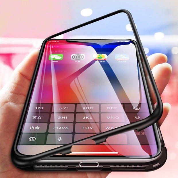 newest fb92e 75c01 360 Magnetic Case For Samsung Galaxy S9 Note 8 S8 S7 Edge Metal Tempered  Glass Cover For IPhone X 8 Plus 7 6 For Huawei P20 Case