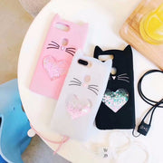 3D Beard Cat Case For OPPO R11s R11s PLus Cute Cartoon Quicksand Silicone Rubber Gel Soft Cover Coque Fundas Hand Rope