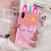 3D Cartoon Animals Unicorn Liquid Quicksand Phone Case For Apple IPhone X Shockproof Silicon Back Cover For IPhone 6 6S 7 8 Plus
