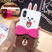 3D Cute Cartoon Rabbit Bear Soft Silicon Case For Iphone X XS MAX XR 7 6 6s 7 8 Plus 3D Bowknot Stand Support Lovely Back Cover