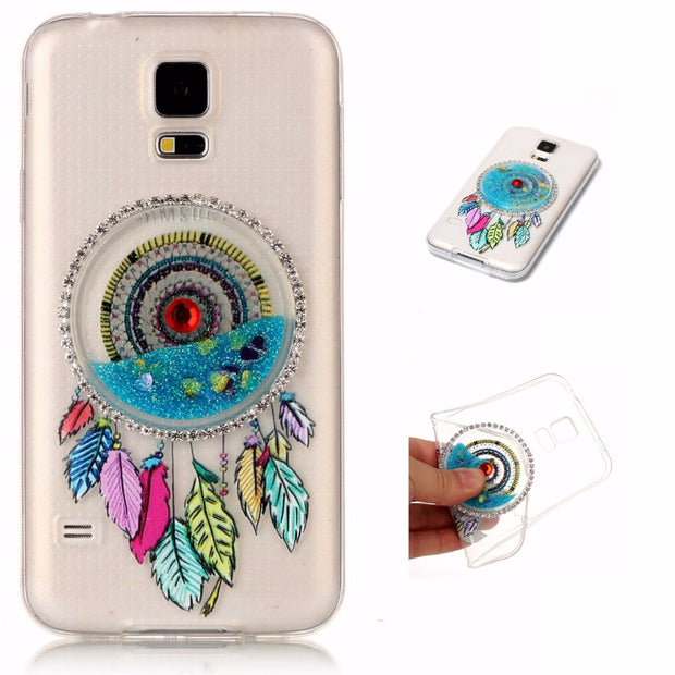 3D Dynamic Glitter Covers For Samsung Galaxy S5 Soft TPU Liquid Clear Back Cases For Samsung Galaxy G9006v Phone Plastic Shell