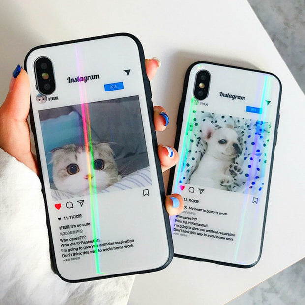 outlet store bf56d 084a2 3D Hologram Kawaii Dog Cat Instagram Tempered Glass Phone Case For Iphone  XS X 6 7 8 Plus 7plus 8plus Holo Cases Luxury Cover