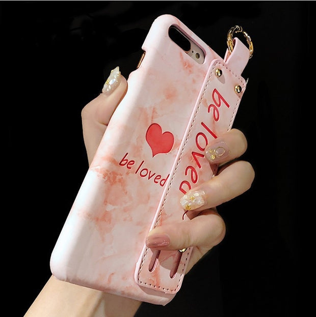3D Marble Pink English Letter Be Loved Leather Phone Case For IPhone X XS MAX XR 10 8 7 6 S 6s Plus Cases Back Cover Wrist Strap