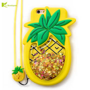 3D Pineapple Squishy Liquid Case For IPhone 8 Cover For IPhone 8 7 Plus Cases Glitter Stars Liquid Dynamic Cute Soft Phone Cases