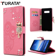 3D Rhinestone Leather Wallet Bling Diamond Bag With Card Solts Case For Samsung Galaxy Note 8 Owl Cover For Galaxy Note8
