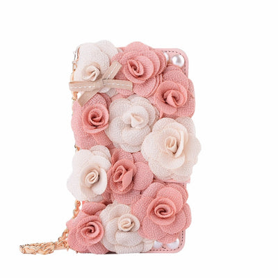 3D Rose Pink Lady Lovely Phone Handbag For Huawei P9 Plus P10 Leather Flip Cover Card Slot Purse For Huawei P10plus P9