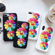 3D Silicone Floral Flower Phone Case For IphoneX Cartoon Sunflower Cover For Iphone6 6s 6plus 7 7plus 8 8plus Back Cover