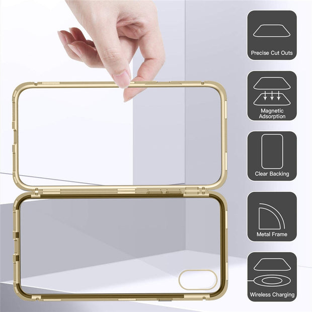 5.8/6.1/6.5 Inch Glass Case Cover Metal Bumper Magnetic Adsorption New High Quality For IPhone XR/XS/XS Max #10