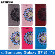 ARYIKUM Glitter Case For Samsung Galaxy S7 SM-G930F G9300 G930F G930 3D Flower Painting Wallet Flip Cover For Sansung S7 Coque