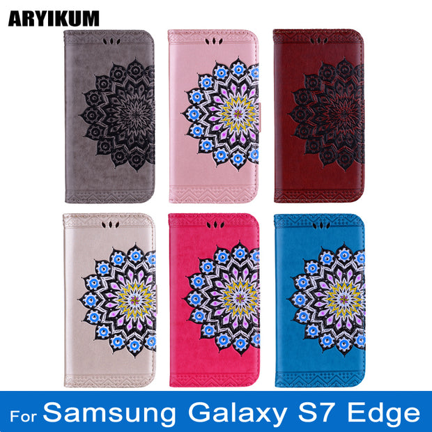 ARYIKUM Phone Case For Coque Samsung Galaxy S7 EDGE G935 G935F SM-G935 Glitter Wallet Case For Sansung S7 EDGE Accessories Cover