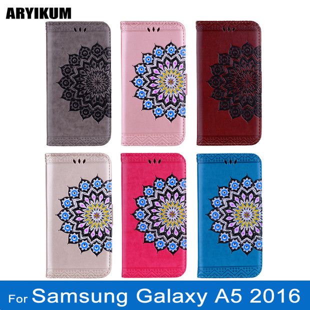 ARYIKUM Wallet Case For Coque Samsung Galaxy A5 2016 SM-A510f SM A510 A510f Mandala Flower Silicone Cover For Sansung A5 2016