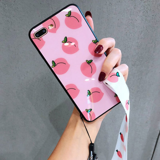 Apple7 Plus Mobile Phone Shell Lanyard 8G Multiple Peaches IPhoneX Small Fresh Protective Cover 6s