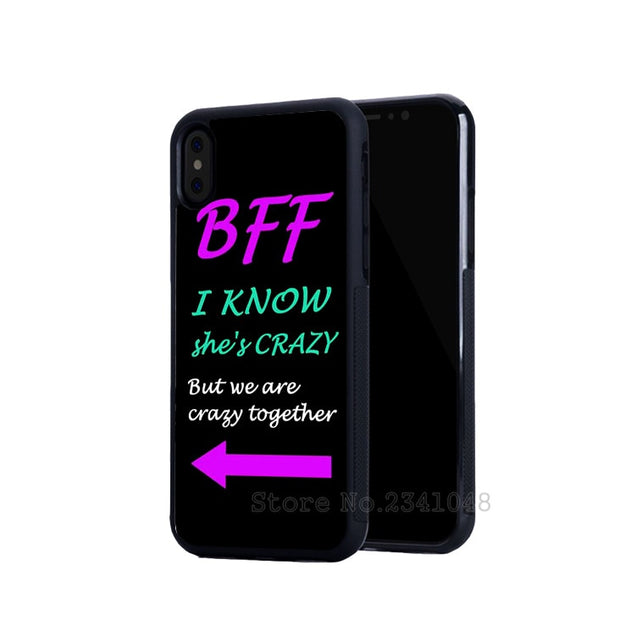 BFF Best Friends She's Crazy Arrow Silicone Soft Phone Cases For Iphone 5s Se 6 6s Plus 7 7plus 8 8plus X XR XS MAX Cover Case