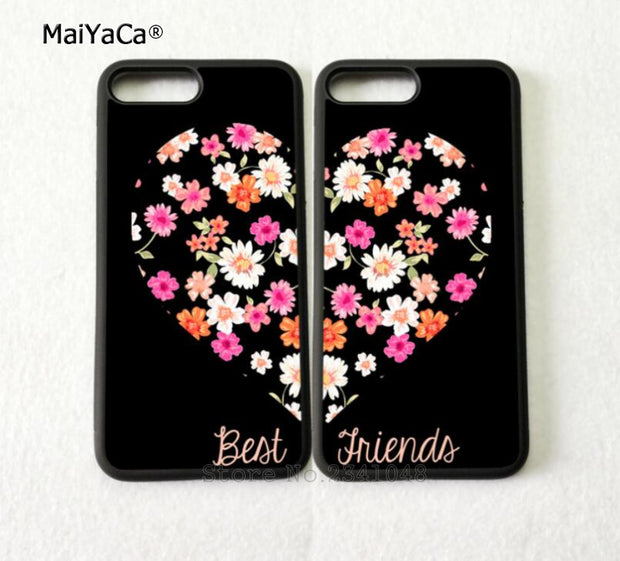 BFF Heart Pair Matching Best Friends Silicone Soft Phone Cases For IPhone 5s Se 6 6s Plus 7 7plus 8 8plus X XR XS MAX Cover Case