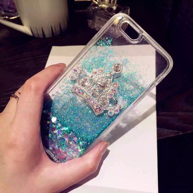 Banjolu New Bling Rhinestone Crown Phone Cases For IPhone X 5s SE 6 6s Plus 7 Plus 8 Plus Quicksand Glitter Star Case Cover