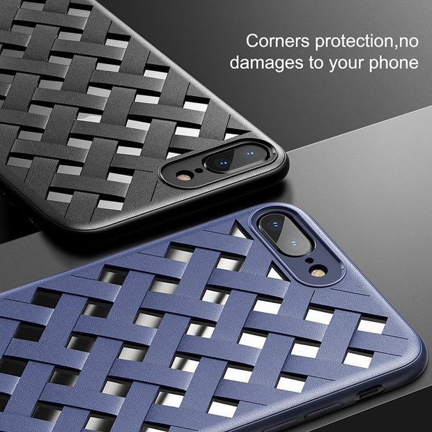 Baseus Luxury Case For IPhone 7 Weave Grid Windows Soft Silicone Case For IPhone 7 8 Plus TPU + Plastic Phone Cover For IPhone X