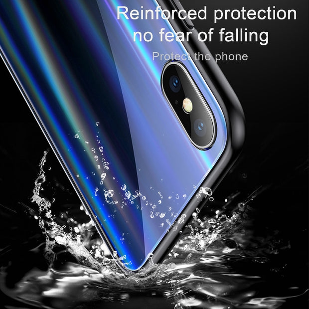 Baseus Luxury Tempered Glass Phone Case For IPhone X 10 Soft TPU Protective Back Cover Case For IPhone X 10 Full Cover Capinhas