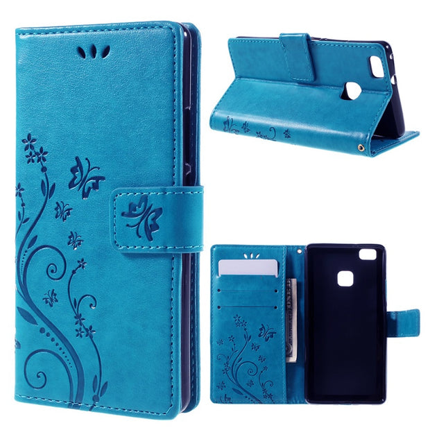 Beautiful Butterfly Camera Protection Design PU Leather Case For HuaWei P9 Hard Plastic Inner Flip Cover Pouch Wallet Stand