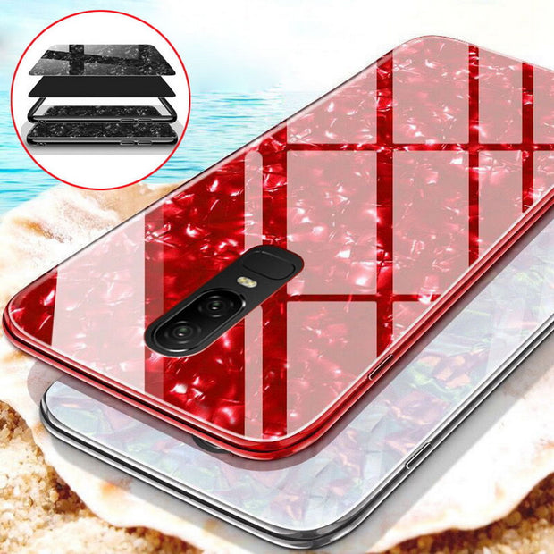 Bling Conch Shell Case For Sumsung Galaxy S9 S8 Plus Tempered Glass Back Cover Silicon Frame Cases For Sumsung Note8 S9 Plus S8