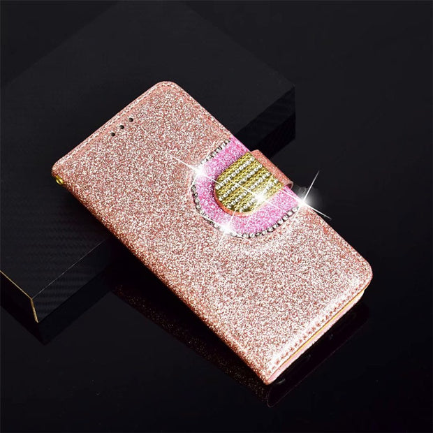 Bling Glitter Leather Case Magnetic Flip Wallet Cover For IPhone X/XS 5.8inch #1111D