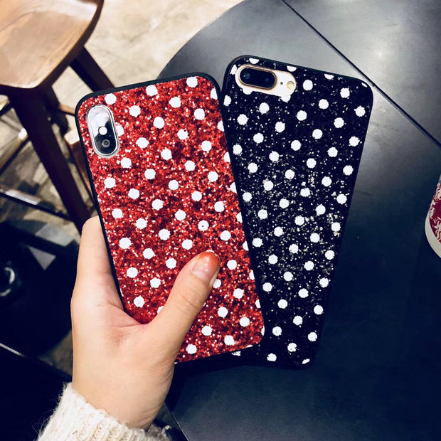 Bling Glitter Phone Case For IphoneXS XR XSMAX Cute Dots Wave Point Anti-knock Back Cover For Iphone6 6s 7 8 Plus