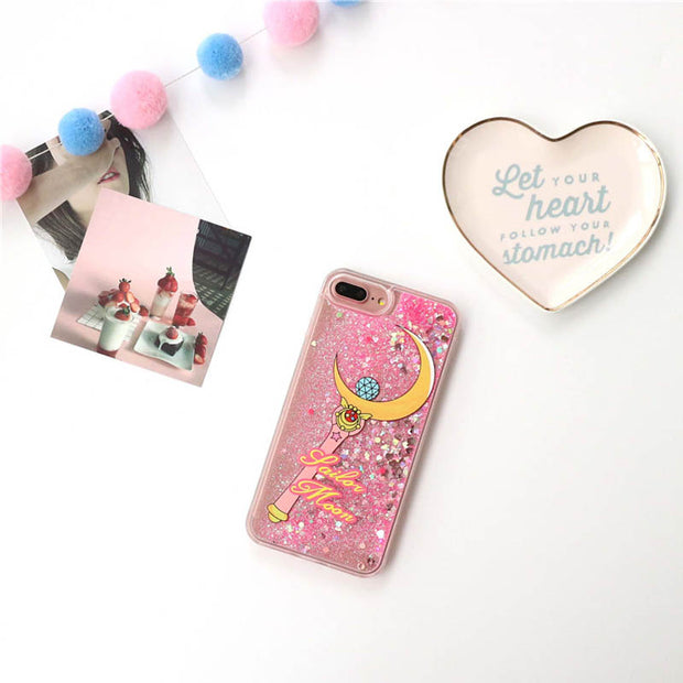 Bling Sailor Moon Glitter Quicksand Case For IPhone 7 7Plus 8 8plus Cartoon Dynamic Liquid Hard Case For Iphone 6 6s 6Plus