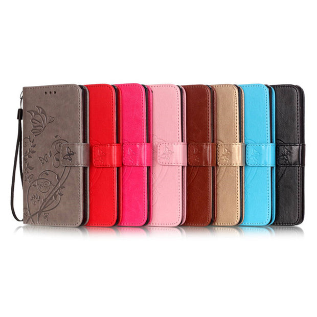 Butterfly Flower Leather Case For HTC Desire 626 Hoesje Wallet Flip Stand With Lanyard Soft Silicone Cover For HTC 626 626G Case