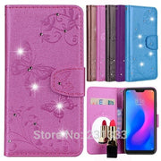 C-ku Mirror Diamond Bling Wallet Leather Pouch Case For Xiaomi 8 MI 6X A2 S2 Redmi 5 Plus NOTE 5 Pro Stand Flower TPU Cover 1PCS