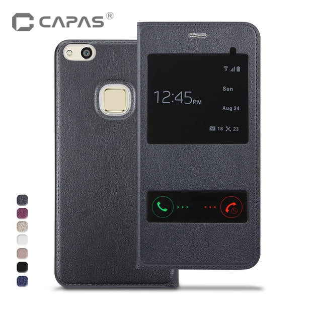CAPAS For Huawei P10 Lite Case Cover Flip PU Leather + Plastic Back Cover For Huawei P10 Lite Case View Window Protective Shield