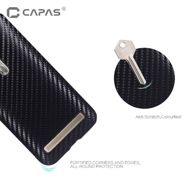 CAPAS For Zenfone Go ZB500KL Case Cover 3D Carbon Fiber Wood Hard PC Plastic Cover For Zenfone Go ZB500KL Case Protective Shield