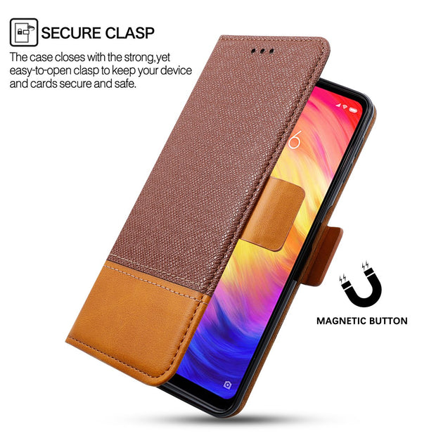 CASEWIN For Xiaomi Redmi Note 7 Luxury Phone Case PU Leather Flip Stand Wallet Case Cover With Card Holders And Magnetic Button