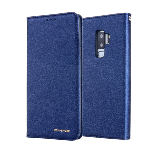 CMAI2 For Samsung Galaxy S9 Case Leather Silk Magnetic Flip Wallet Cover For Samsung Galaxy S9 Plus Case Silicone With Kickstand