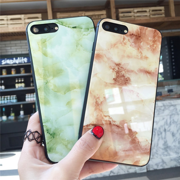 COLORS TEMPERED GLASS Phone BagS FOR APPLE IPHONE 7 8 PLUS X 6S 6 PLUS LUXURY MARBLE DESIGN TEMPERED GLASS Cover Cases FUNDA