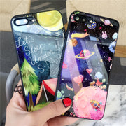 COLORS TEMPERED GLASS Phone BagS FOR APPLE IPHONE 7 8 PLUS X 6S 6 PLUS THE STARRY SKY AT NIGHT TEMPERED GLASS Cover Cases FUNDA
