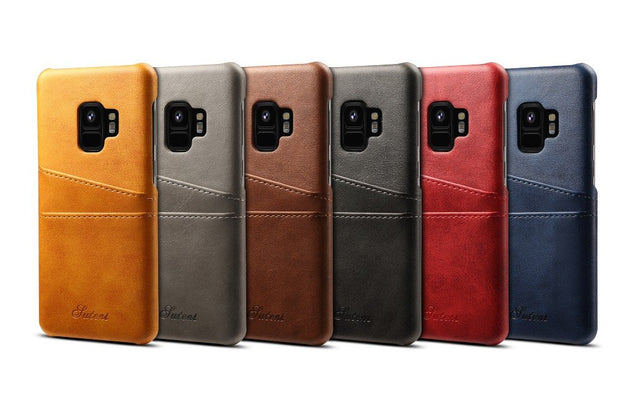Calfskin Imitation Leather Plug-in Card Business Type Half-wrapped Case For Samsung Galaxy S8 S8 Plus S9 S9 Plus Note 8 Note 9