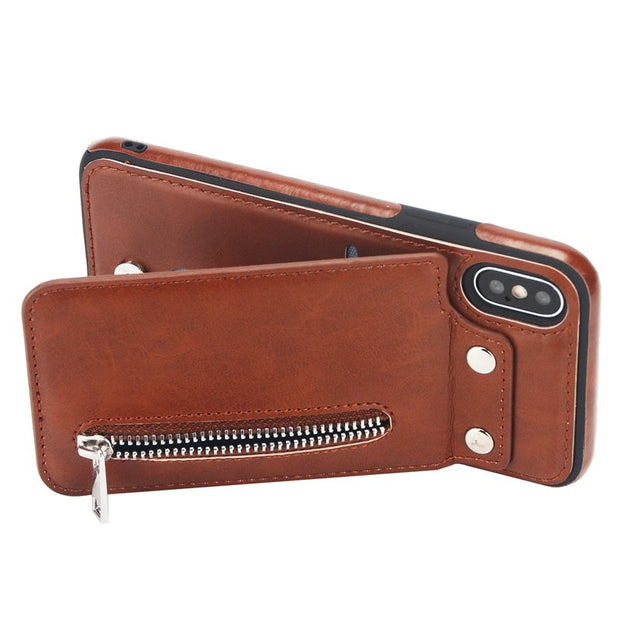 Card Pocket Wallet Leather For Iphone XR XS MAX X 8 7 Plus 6 6S Plus Galaxy Note 9 Flip Zipper Cash ID Slot Case Cover