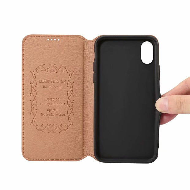 Card Slot Stand Cover For IPhone X XS Casing Pouch Soft TPU Vintage Shell IPhoneXS Bag Sleeve Holder IPhoneX Fundas Capa