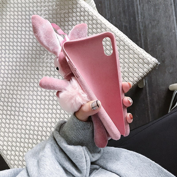 Cartoon 3D Plush Rabbit Toy Case For Apple IPhone XR XS X 6 6S 7 8 Plus Pink Girly Warm Soft Back Cover For IPhone XS Max