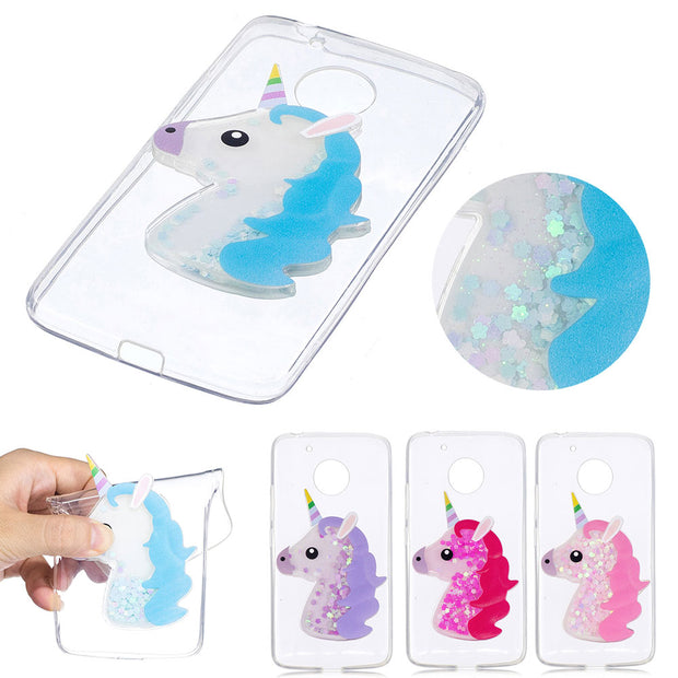 Cartoon 3D Three-Dimensional Unicorn For Moto G5 Colorful Sequin Soft Shell For Motorola XT1685 XT1672 Transparent Case