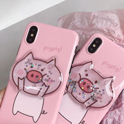 Cartoon Animal Pattern Soft TPU Phone Pig Case Cover For Pink IPhone